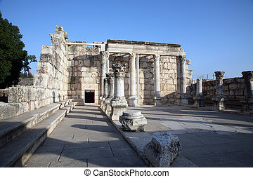 Synagogue of Capernaum, Israel - Ruins of the great...