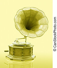 Vintage Gramophone with disc isolated on grunge background
