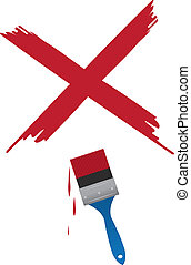 Paintbrush X  - Paint brush painting a large red X