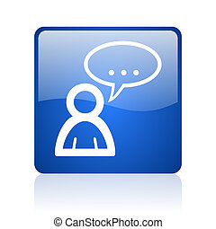 forum blue square glossy web icon on white background