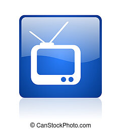 tv blue square glossy web icon on white background