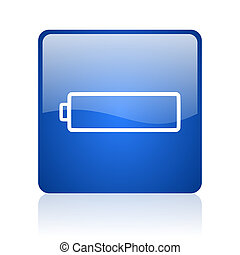 battery blue square glossy web icon on white background