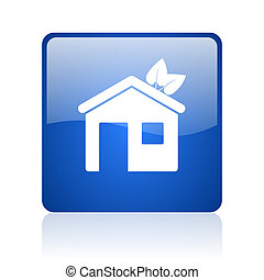 home blue square glossy web icon on white background