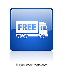 free delivery blue square glossy web icon on white...