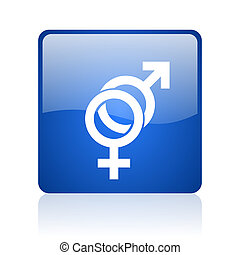 sex blue square glossy web icon on white background