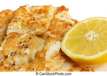 fried in flour codfish on plate, isolated on white...