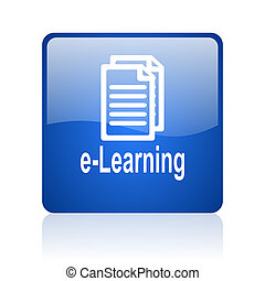 e-learning blue square glossy web icon on white background