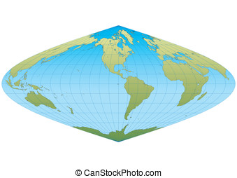 New sinusoidal Americas - Map of the world in Sinusoidal...