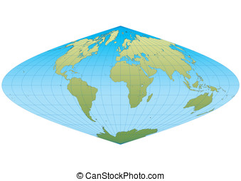 New sinusoidal - Map of the world in Sinusoidal projection...
