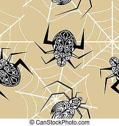 Seamless texture with a spider tattoo