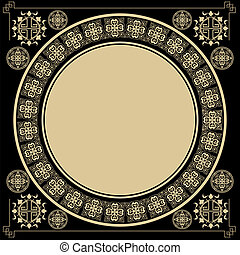 Vintage square background with round Gothic design elements