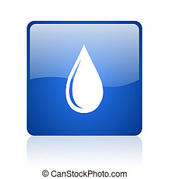 water drop blue square glossy web icon on white background
