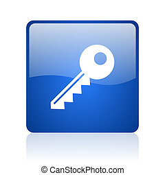 key blue square glossy web icon on white background