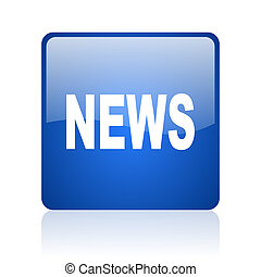 news blue square glossy web icon on white background