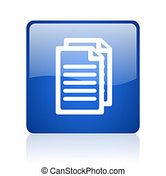 document blue square glossy web icon on white background
