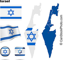 Israel vector set. Detailed country shape with region...