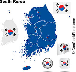 South Korea vector set Detailed country shape with region...