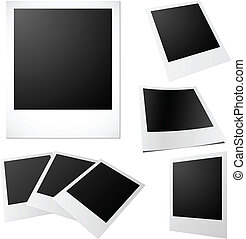 Vector set of blank printed photos isolated on white.