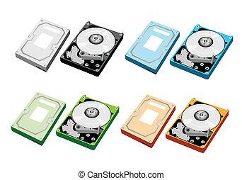 Colorful Illustration Set of Computer Hard Disk