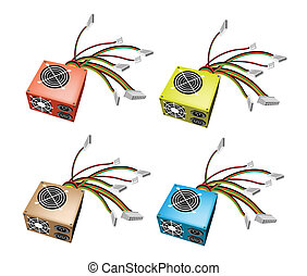 Colorful Illustration Set of Power Supply Box - An...