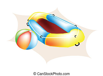 An Illustration of Beach Ball and Inflatable Boat - An...