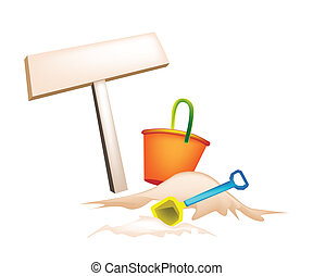 Illustration of Beach Bucket and Wooden Placard - An...