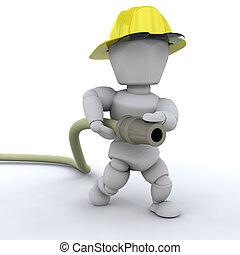 Fireman - 3D render of a fireman