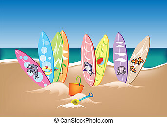 Illustration Set of Surfboards on A Beach - An Illustration...