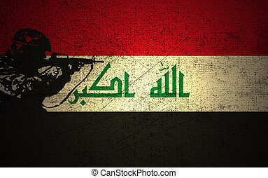Iraq Conflict - A silhouette of a soldier on the Grunge...