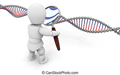 Genetic research - Someone looking at DNA through a...