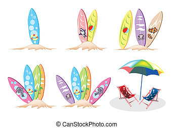 An Illustration Set of Surfboards with Beach Chairs - An...