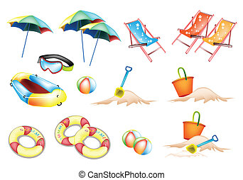 An Illustration of Beach Items for Summertime - An...