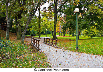 City of Zagreb autumn park - City of Zagreb park Ribnjak in...