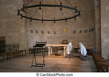 Tabgha, Israel - View of praying nuns inside The Church of...