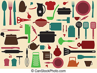 cute kitchen pattern. Illustration of kitchen tools for...