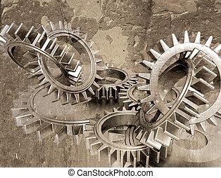 Grunge gears - Grunge style image of interlocking gears