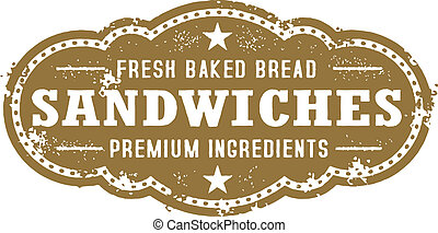 Vintage Deli Sandwich Sign - A distressed vector sandwich...