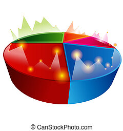 Line Graph Pie Chart - An image of a line graph pie chart