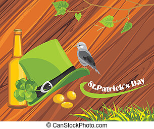 Patrick's Day hat, coins and beer