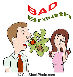 Bad Breath - An image of a woman talking to a man with bad...