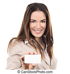 business woman holding a blank business card over white...