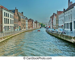 Bruges canals in historic city centre (Belgium) - A photo of...