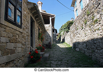 Street in Hum the smallest city in the world, Istra, Croatia