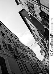 San Remo, Italy - Black and white picture of old houses in...