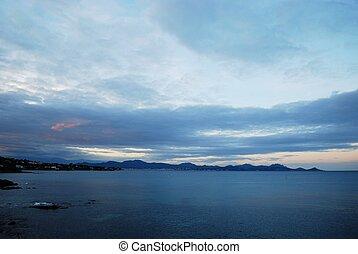 Saint-Raphael bay at sunset