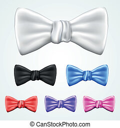 Set of 6 bowties in different colors isolated on light...