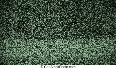 noise on a green old TV screen