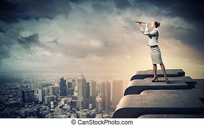 Business woman with telescope - Image of businesswoman...