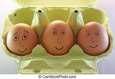 ojos, huevos, tres, boca, nariz, sonriente