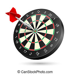 Dartboard with dart Illustration on white background